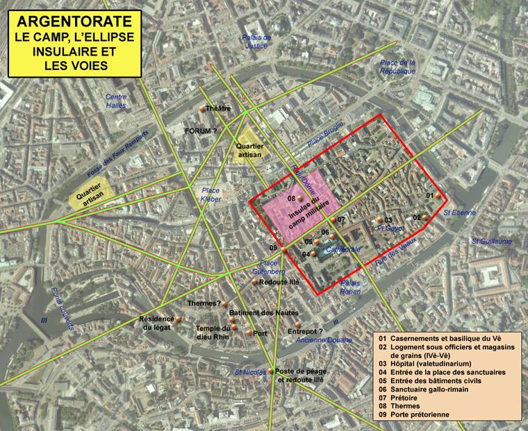 carte du camp romain dans Strasbourg actuel