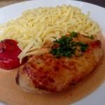 Escalope de poulet au curry et linguines