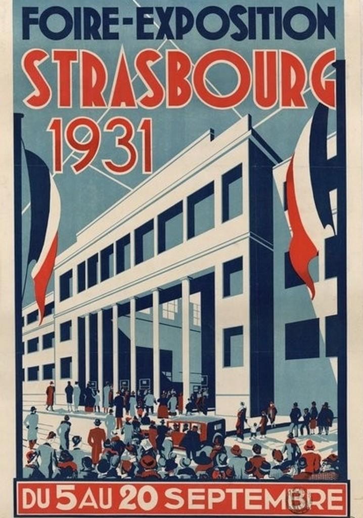 1931 affiche foire exposition européenne strasbourg