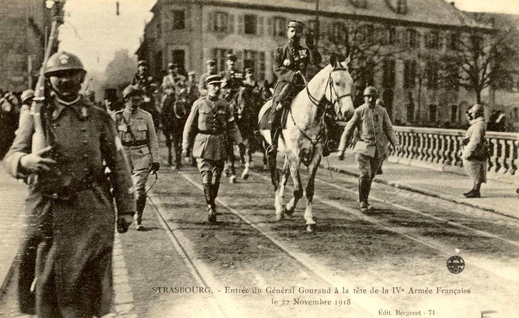 1918 22 nov Entrée du Général Gouraud à la tête de la IVe Armée Française