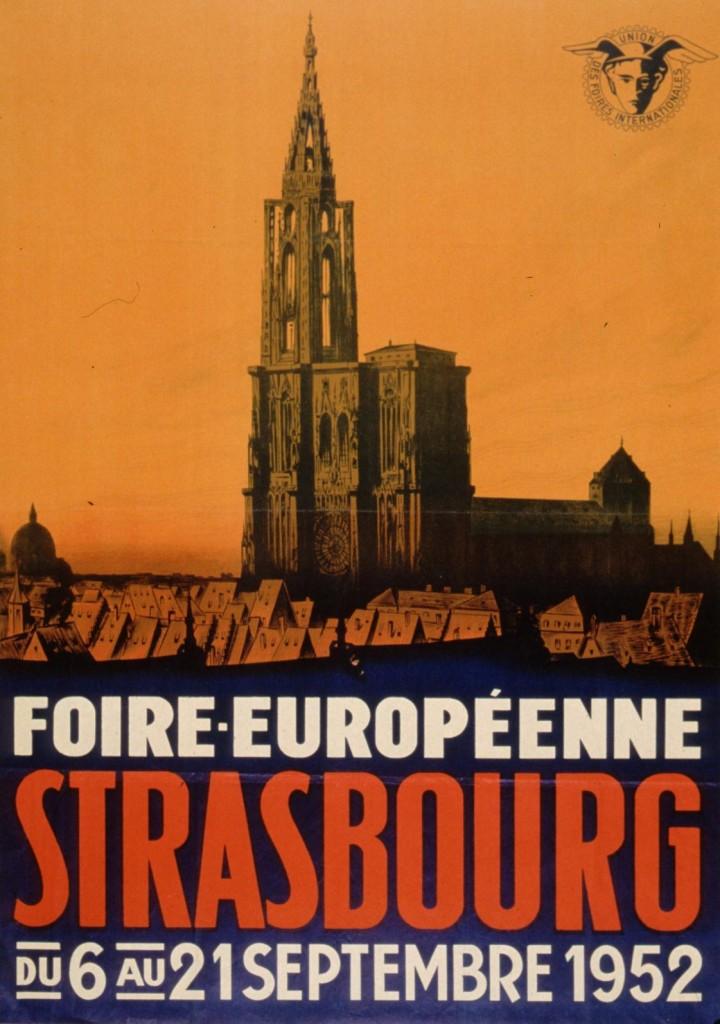 1952 affiche foire européenne strasbourg